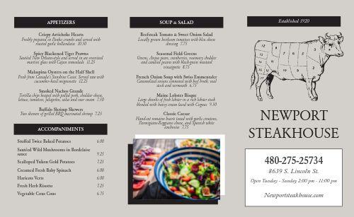 Basic Steakhouse Takeout Menu
