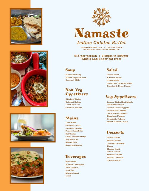Indian Cuisine Buffet Menu