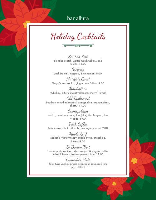 Christmas Cocktails Menu