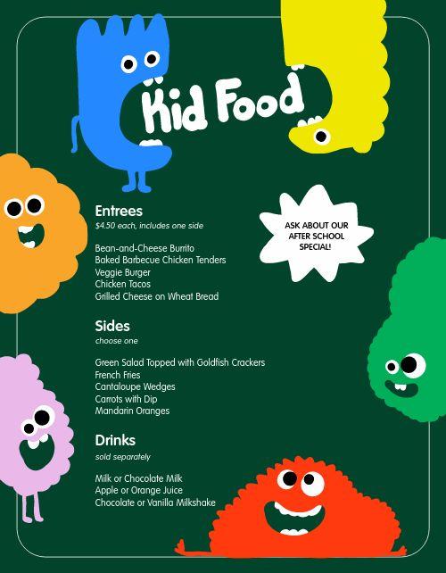 Colorful Monster Kids Menu