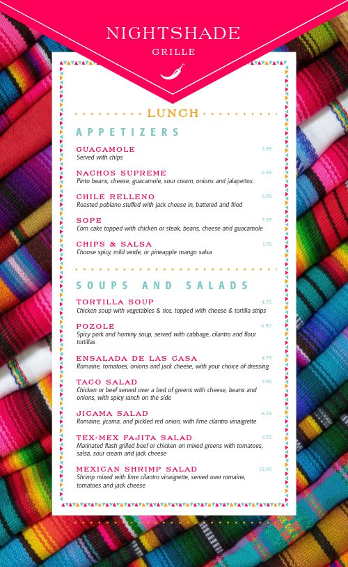 Mexican Grille Menu