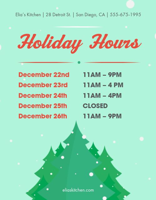 Holiday Season Hours Flyer
