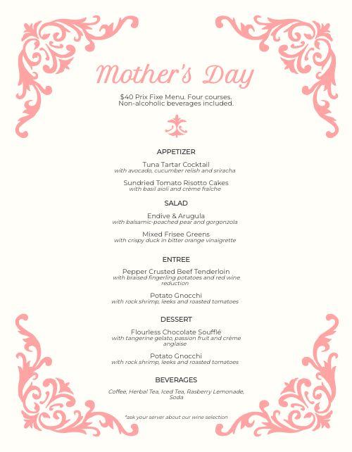 Mothers Day Filigree Menu