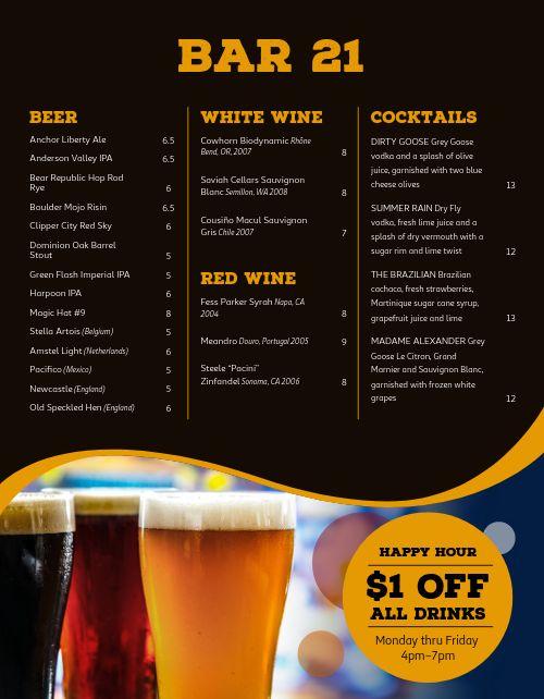 Beer Special Bar Menu