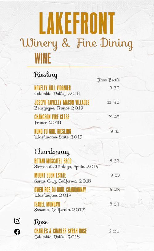 Fine Dining Winery Menu