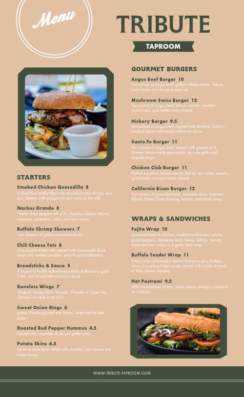 Taproom Burger Bar Menu