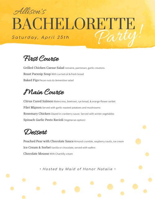 Bachelorette Party Menu