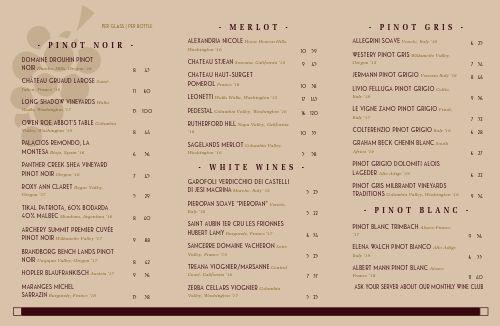 Wine Drink Folded List
