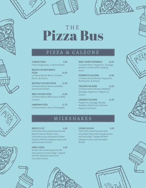 Pizza Truck Menu