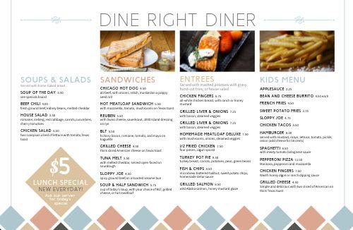 Sample Diner Placemat Menu