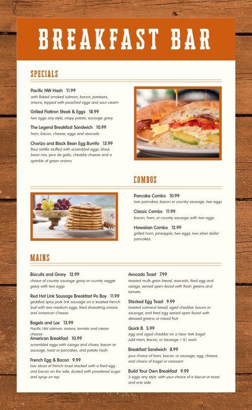 Breakfast Bar Menu