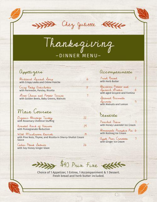 Thanksgiving Specials Menu