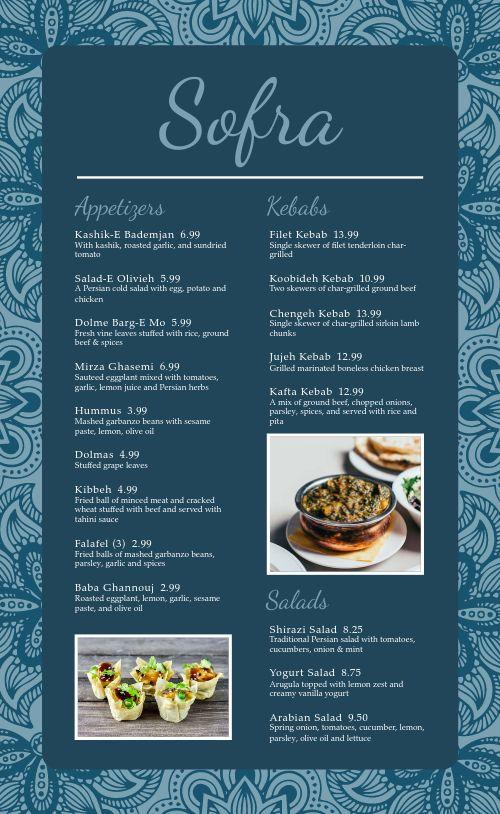 Middle Eastern Dine In Menu