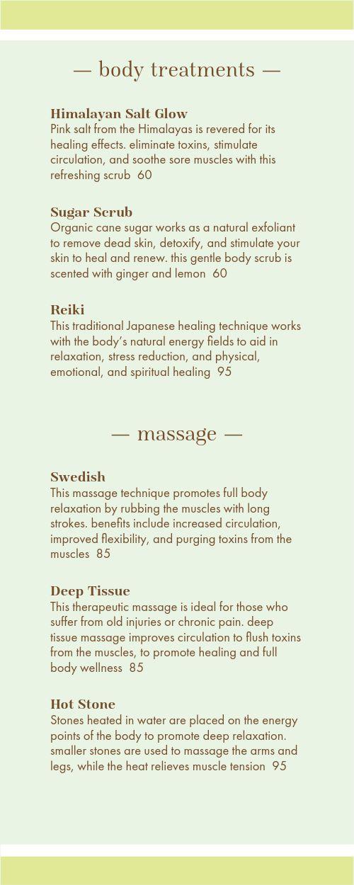 Spa Treatment Menu