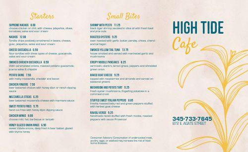 Beachfront Cafe Takeout Menu