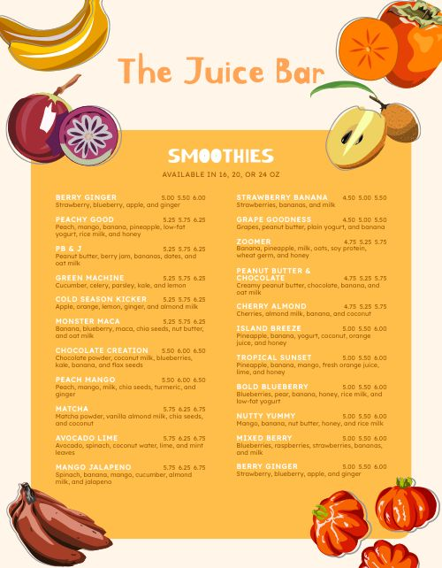 Juice Bar Menu