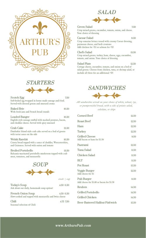 British Pub Menu