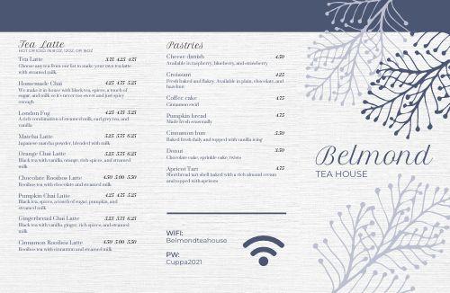 Editable Tea Folded Menu