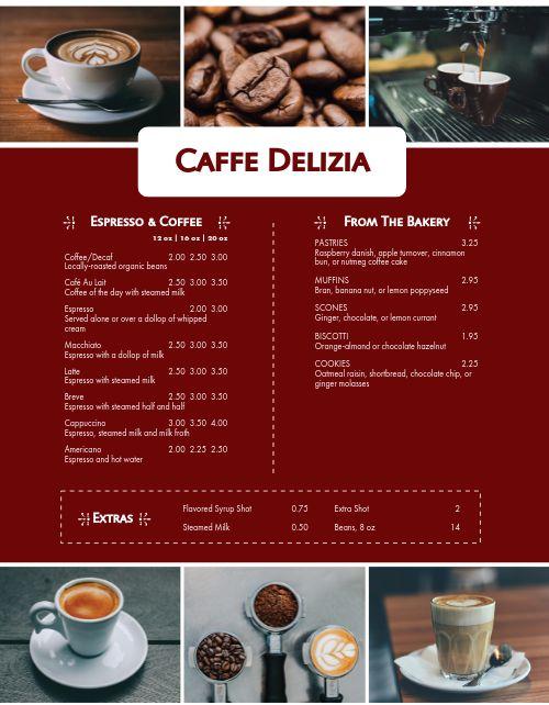 Italian Coffee Menu
