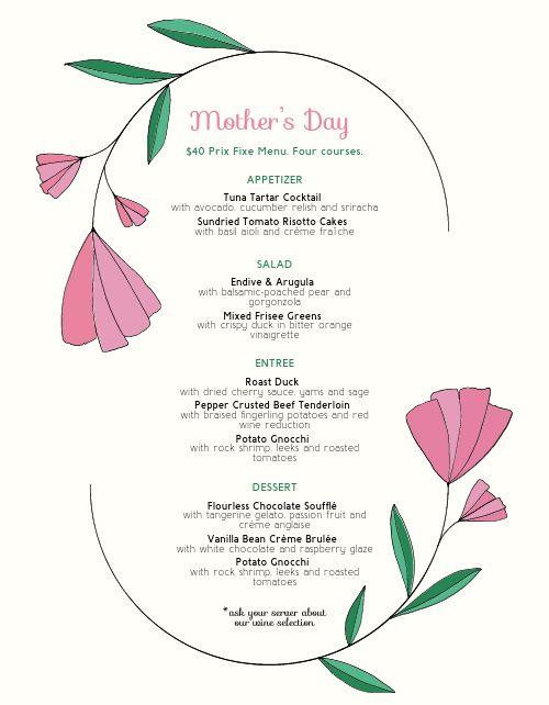 Mothers Day Tulip Menu