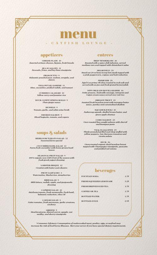 Golden Filigree Fine Dining Menu
