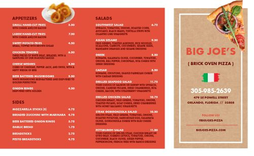 Brick Oven Pizza Takeout Menu Example
