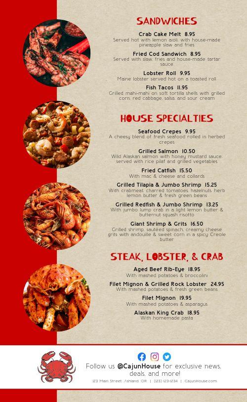 Cajun Seafood Menu