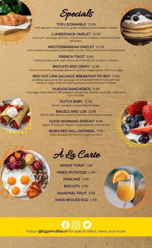 Sunny Breakfast Menu