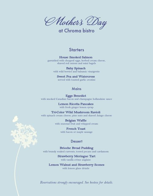 Mothers Day Special Menu