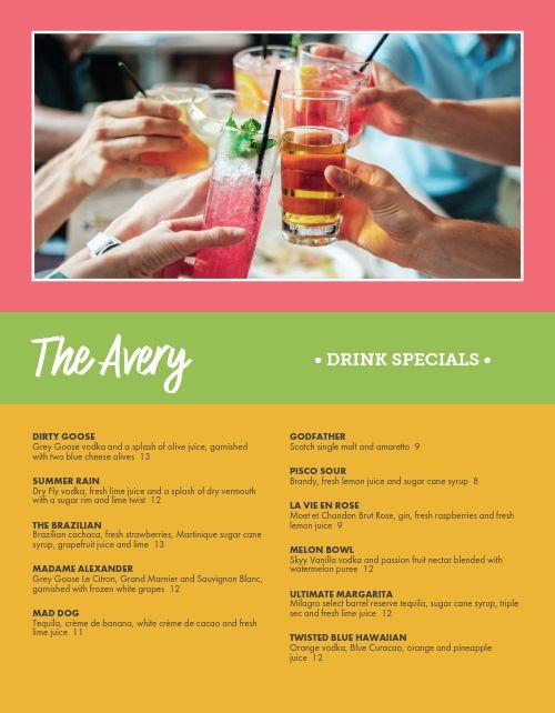 Specialty Bar Menu