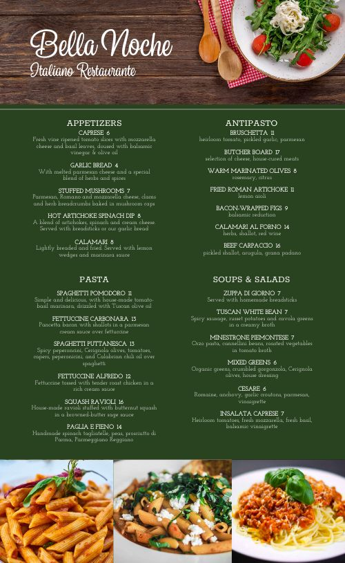 Rustic Fresh Italian Menu
