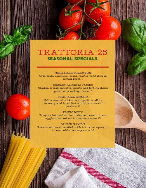 Italian Specials Menu