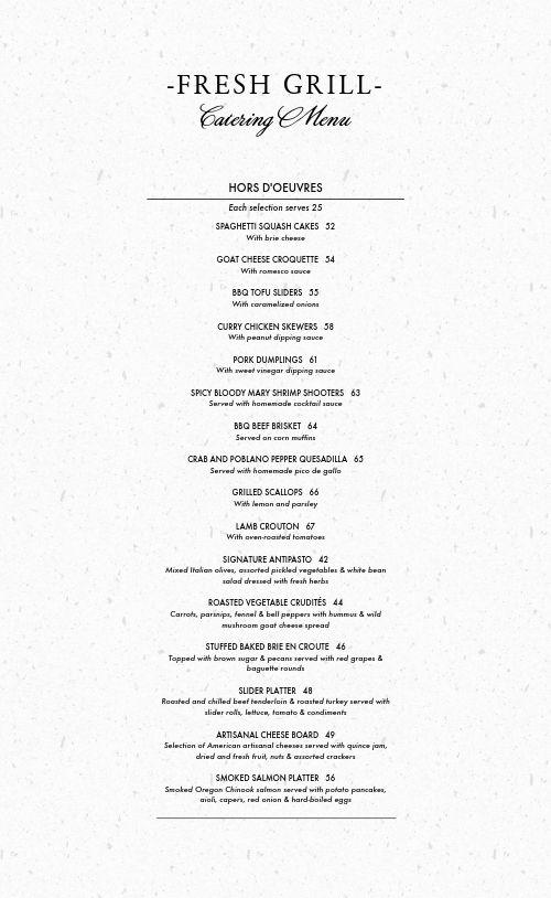 Catering Menu Example