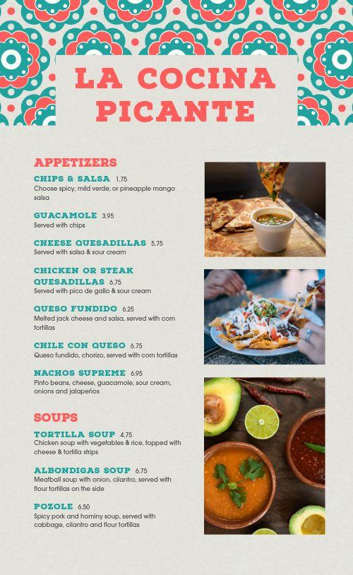 Easy Edit Mexican Menu