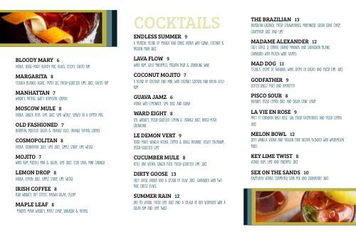 Cocktail Lounge Folded Menu