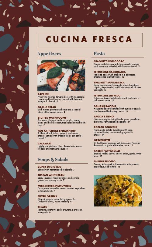 Italian Dine In Menu