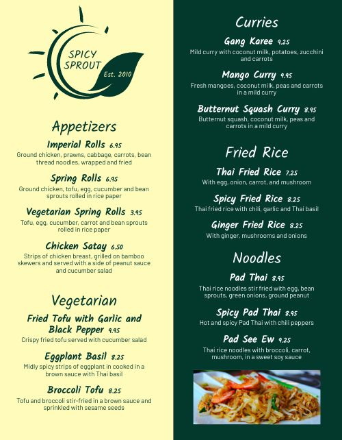 Asian Food Truck Menu