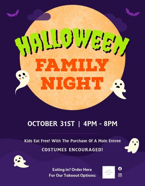 Halloween Family Night Flyer