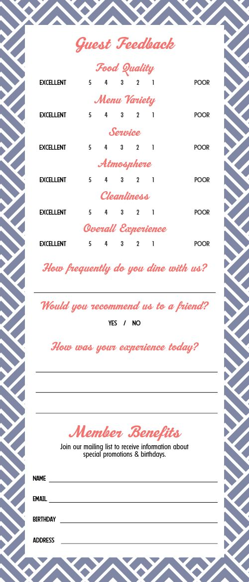 Feedback Comment Card