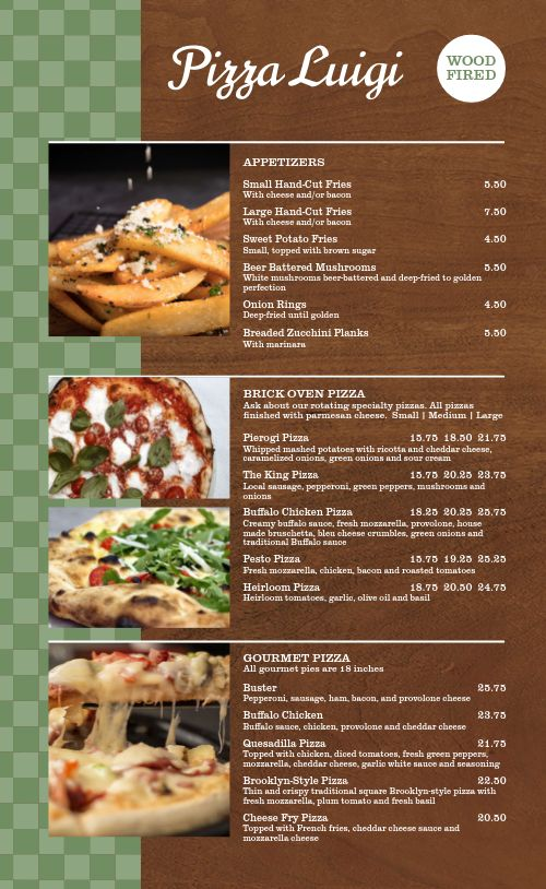 Classic Wood Fired Pizza Menu