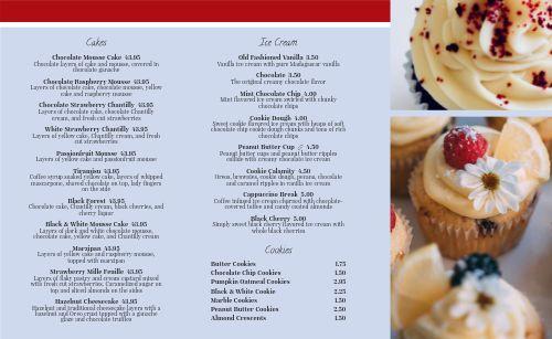 Dessert Takeout Menu Idea