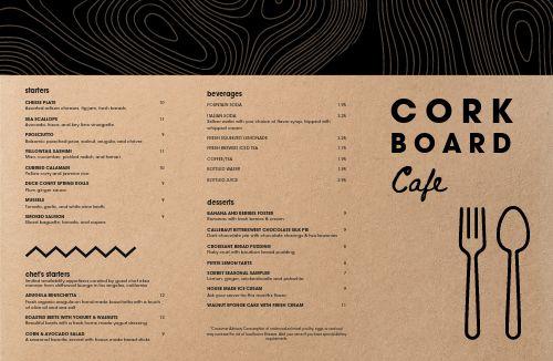 Cork Fine Dining Folded Menu