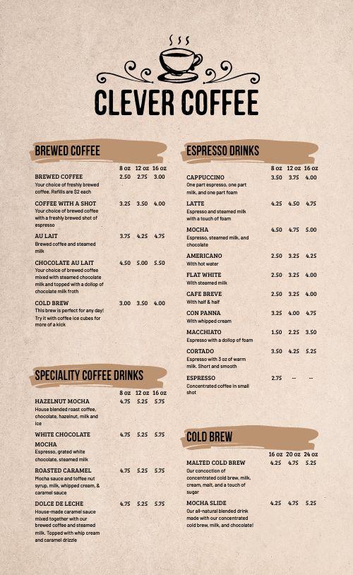 Basic Coffee Menu