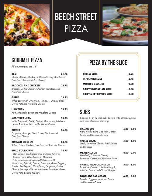 Contemporary Pizza Menu
