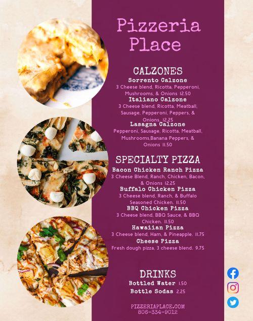 Pizzeria Food Truck Menu Poster