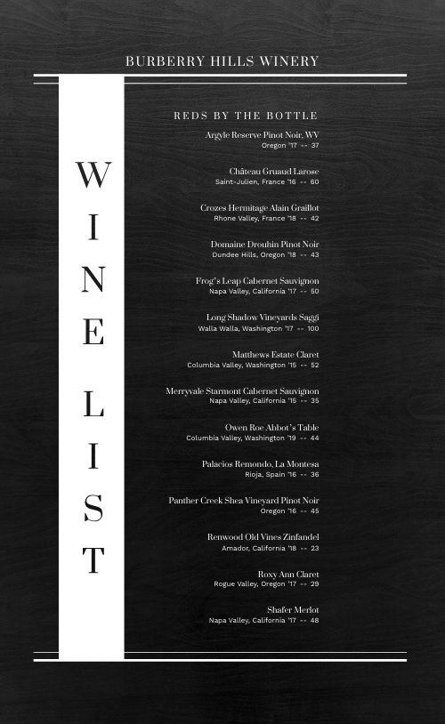 Alcohol Wine List Menu