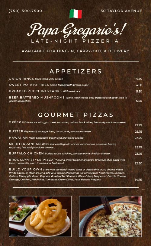 Pizza Menu Example