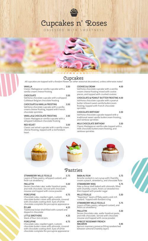 Cupcake Menu Example