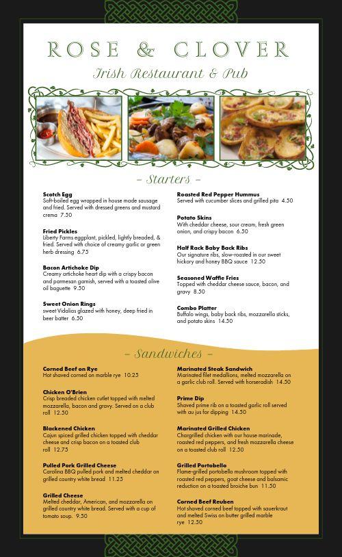 Irish Restaurant Menu