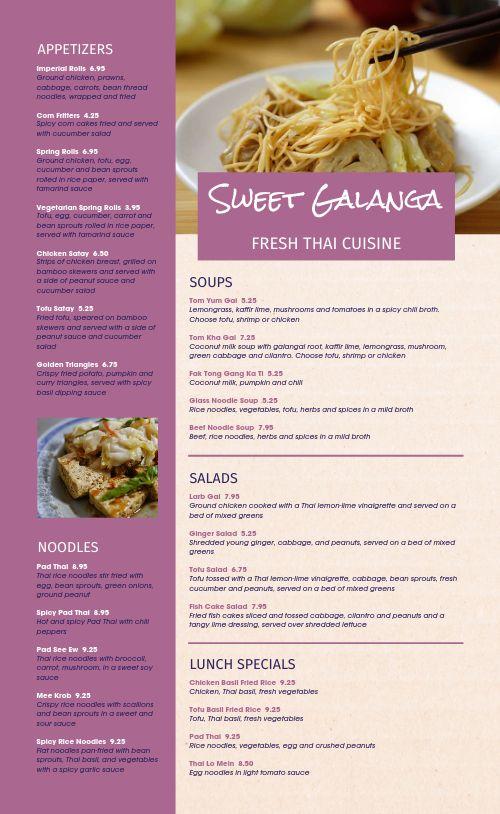 Thai Dining Menu